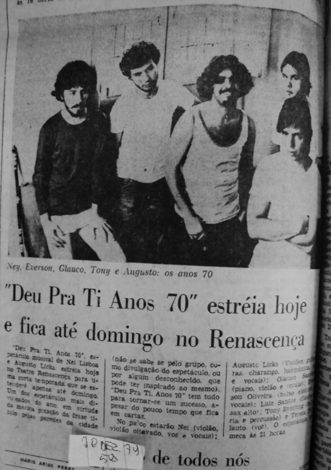 [PRESS] 'Deu Pra Ti Anos 70' estreia hoje e fica até domingo no Renascença.