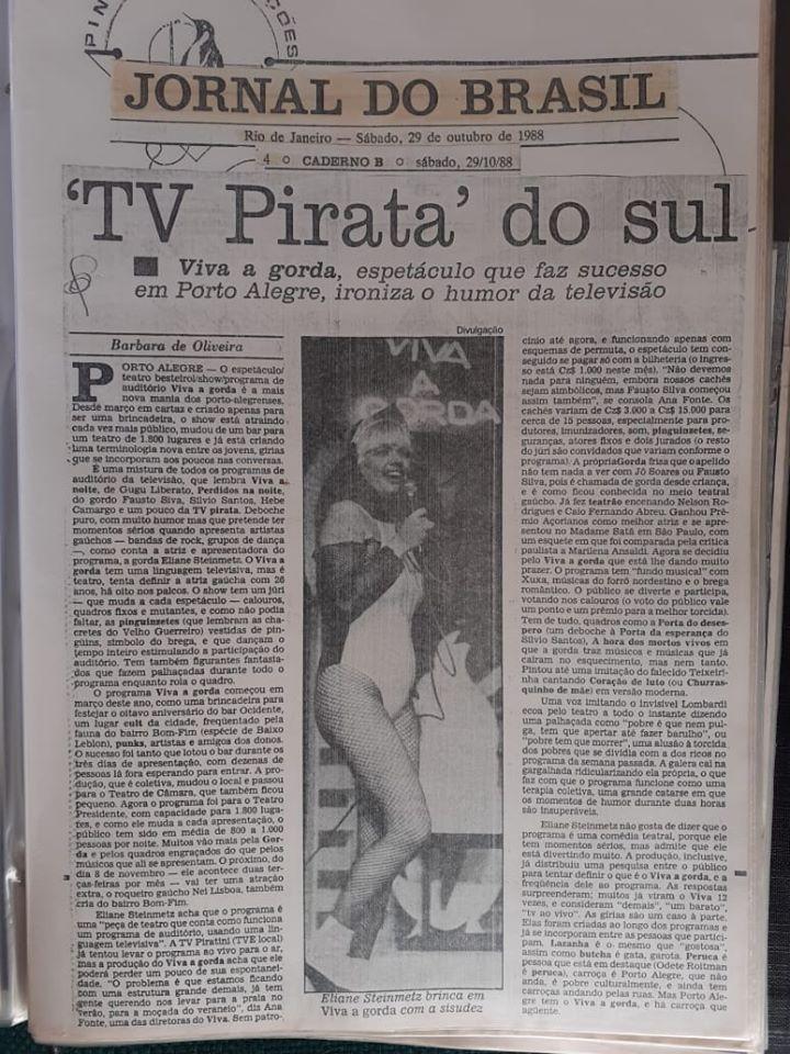 [29-10-1988] 'TV Pirata' do Sul: Viva a Gorda no Jornal do Brasil