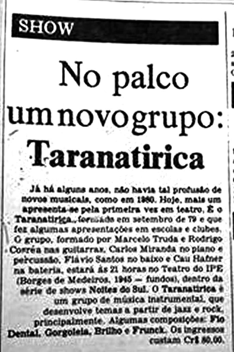 [PRESS] No palco um novo grupo: Taranatiriça [a estreia da Banda em palco de teatro]