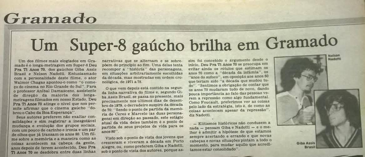 [PRESS] Um super-8 gaúcho brilha em Gramado [Deu pra ti Anos 70]