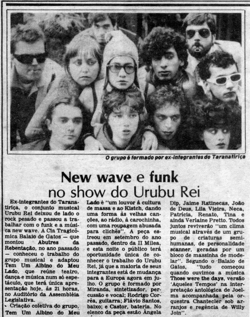[PRESS] New Wave e Funk no show da Urubu Rei (origem da banda)