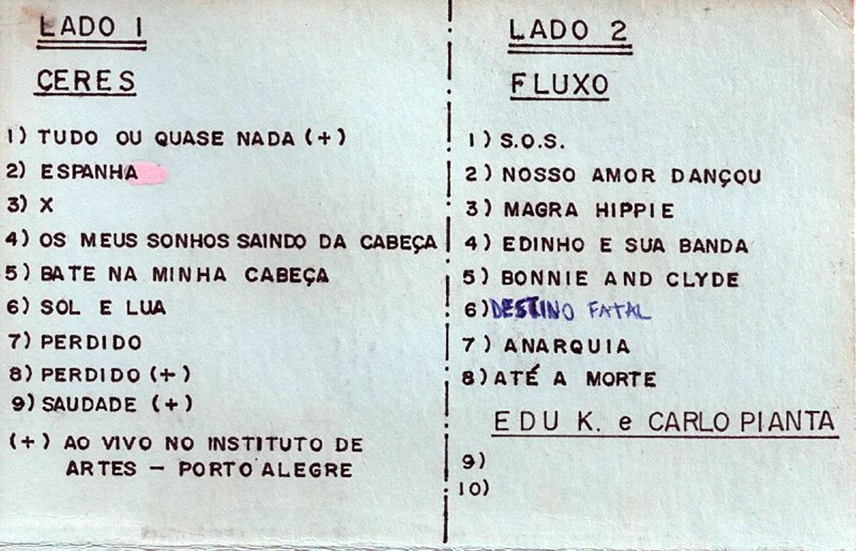 [ACERVO] Cover Fita Cassete, com ensaios das bandas Fluxo e Ceres