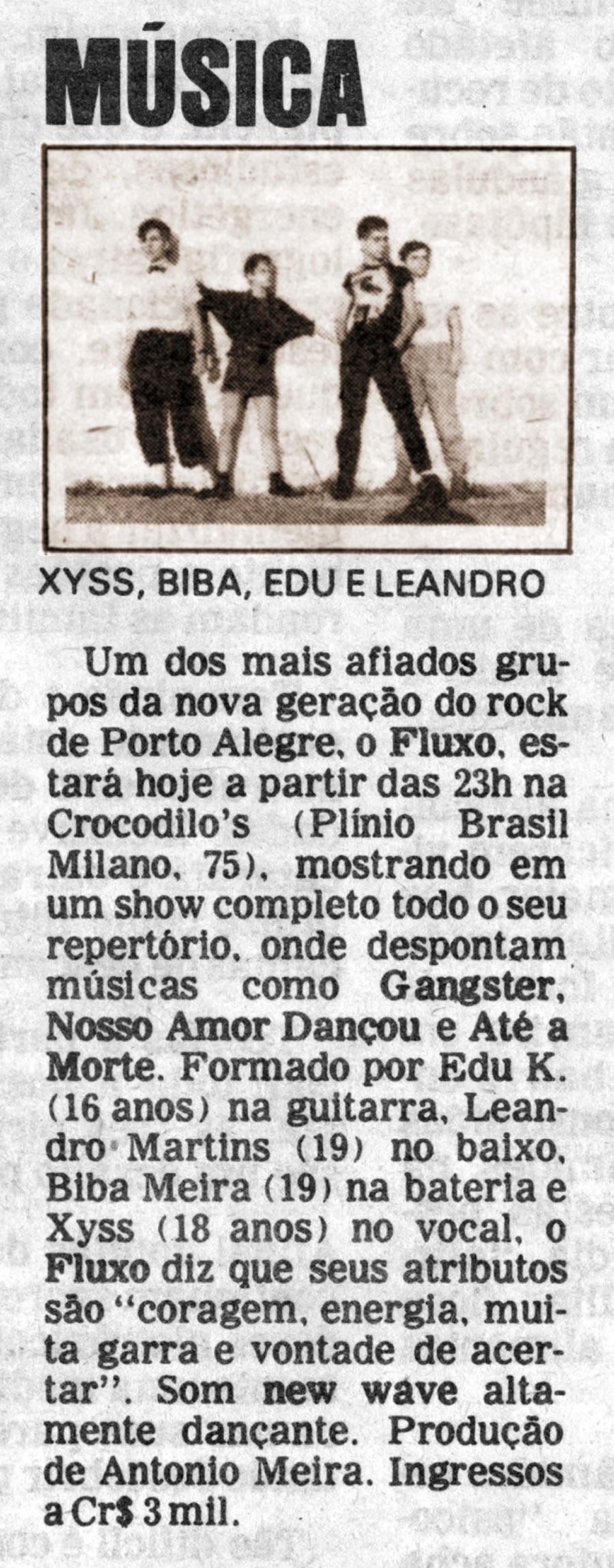 [PRESS] A nova geração do rock de Porto Alegre, o FLUXO