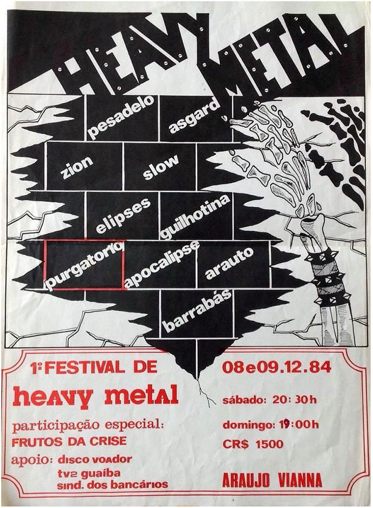 [ACERVO] Poster 1ª Festival de Heavy Metal de Porto Alegre e show da 'Frutos da Crise'