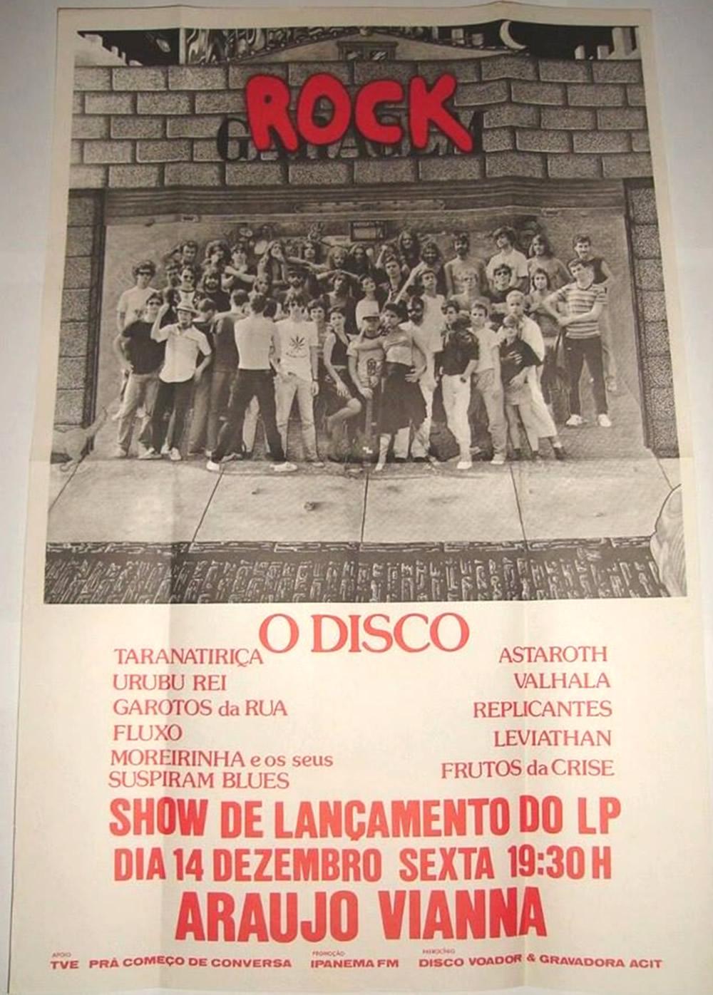 [ACERVO] Poster do show de lançamento do LP Rock Garagem no Araújo Vianna.