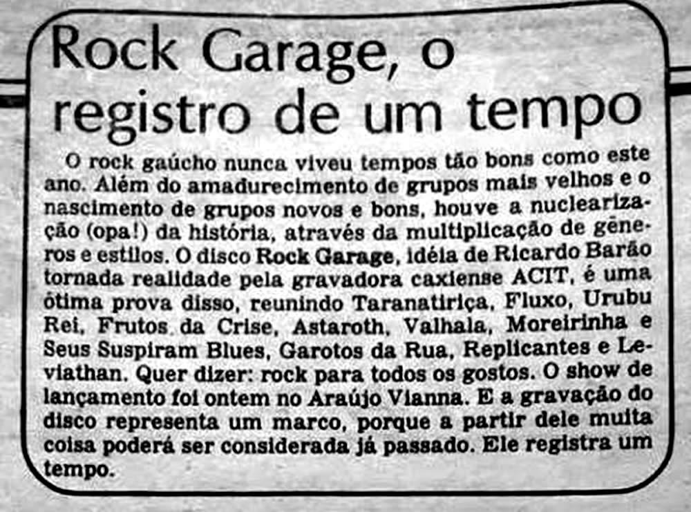 [REVIEW] Lançamento do Rock Garagem: o 'Registro de um Tempo'