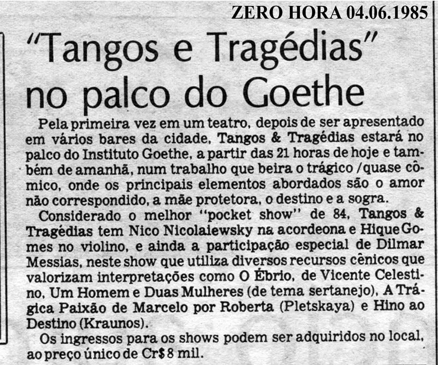 """[PRESS] """"Tangos e Tragédias"""" no palco do Instituto Goethe"""