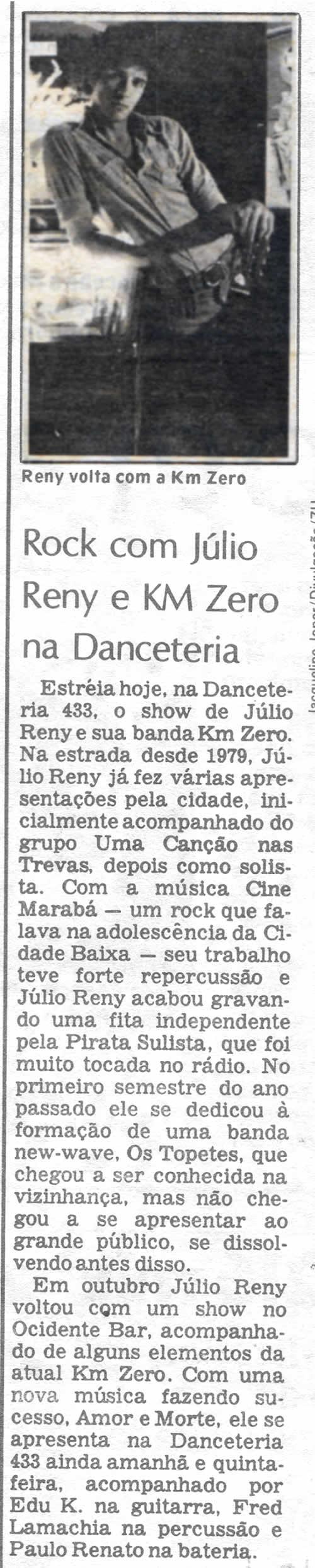 [REVIEW] Rock com Júlio Reny e KM Zero na Danceteria 433
