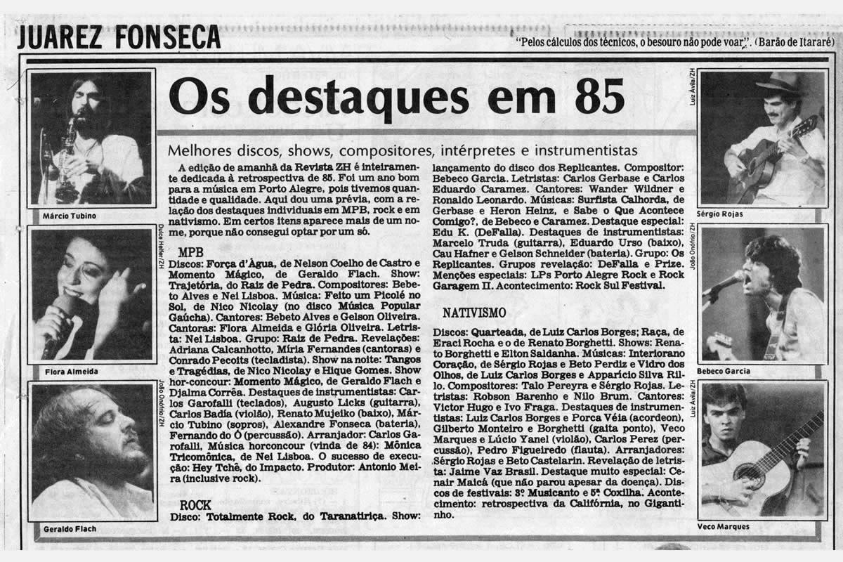 [PRESS] Destaques de 1985: os discos, os shows e os artistas
