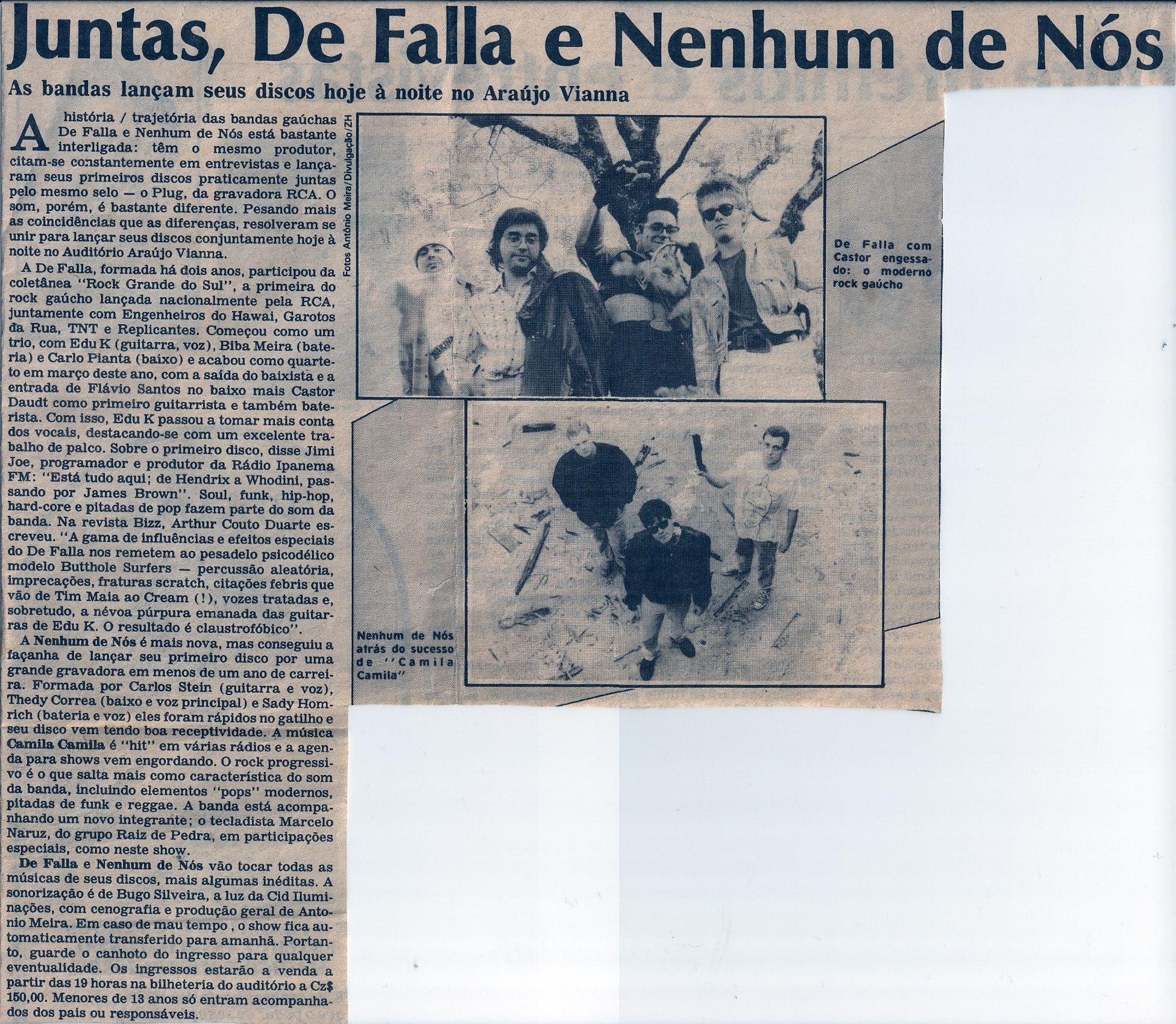 [PRESS] Juntas, DeFalla e Nenhum de Nós no Araújo Vianna