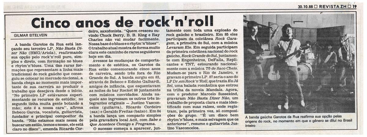 [PRESS] Cinco anos de Rock'n'roll, com Os Garotos da Rua