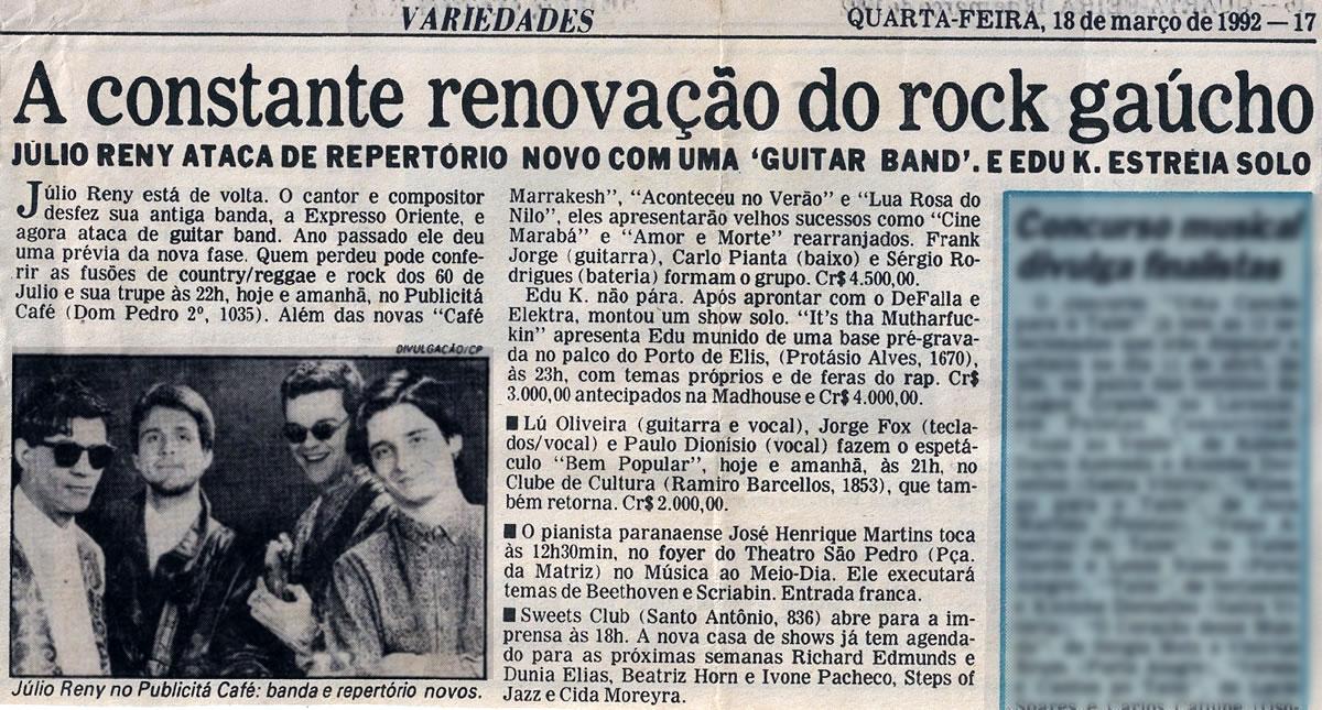 [PRESS] A Constante renovação do Rock Gaúcho